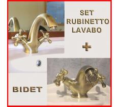DOPPIO RUBINETTO BRONZO/ORO LAVABO + BIDET -SET COMPLETO CON FLESSIBILI PER MOBILE DA BAGNO - LAVABO
